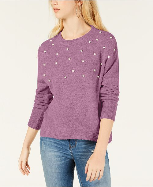 Hooked Up by IOT Juniors' Faux-Pearl Pullover Sweater