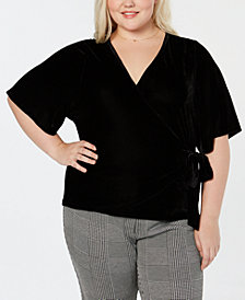 Soprano Trendy Plus Size Velvet Faux-Wrap Top