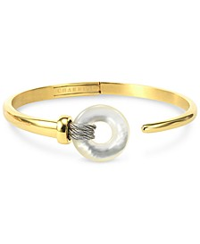 Mother-of-Pearl Two-Tone Bangle Bracelet in PVD Stainless Steel and Gold-Tone