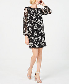 Jessica Howard Petite Floral-Printed Balloon-Sleeve Dress