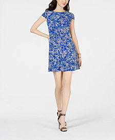 Jessica Howard Petite Puff Floral-Print Fit & Flare Dress