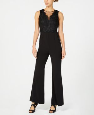 ADRIANNA PAPELL Lace Bodice Bell Bottom Jumpsuit in Black