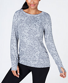 Ideology Floral-Print Lace-Up Sides Top, Created for Macy's