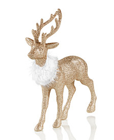 "Holiday Lane 11"" Gold-Tone Glitter Deer Christmas Decoration, Created for Macy's"