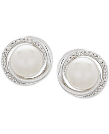 Cultured Freshwater Pearl (8mm) & Diamond Accent Framed Stud Earrings in Sterling Silver