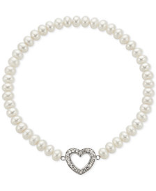 Cultured Freshwater Pearl (5mm) & White Topaz (5/8 ct. t.w.) Heart Stretch Bracelet in Sterling Silver