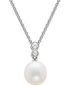 "Cultured Freshwater Pearl (9-1/2mm) & Swarovski Zirconia 17-1/4"" Pendant Necklace in Sterling Silver"