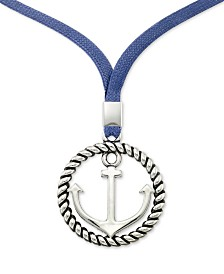 "LEGACY for MEN by Simone I. Smith Anchor & Blue Linen Cord Pendant Necklace in Stainless Steel, 22"" + 2"" extender"