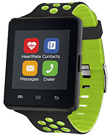 iTOUCH Men's Air 2 Black & Green Perforated Silicone Strap Touchscreen Smart Watch 45mm