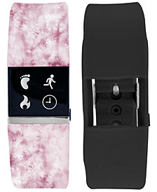 iFitness Women's Pulse Pink Print & Black Silicone Activity Tracker Smart Watch 18x20mm