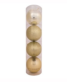 "2.4"" Champagne 4-Finish Ball Christmas Ornament, 60 Per Box"