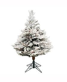 3.5 ft Flocked Alberta Artificial Christmas Tree Unlit
