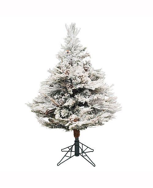 Vickerman 3.5 ft Flocked Alberta Artificial Christmas Tree Unlit