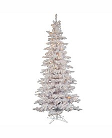 7.5 ft Flocked White Slim Artificial Christmas Tree With 550 Clear Lights