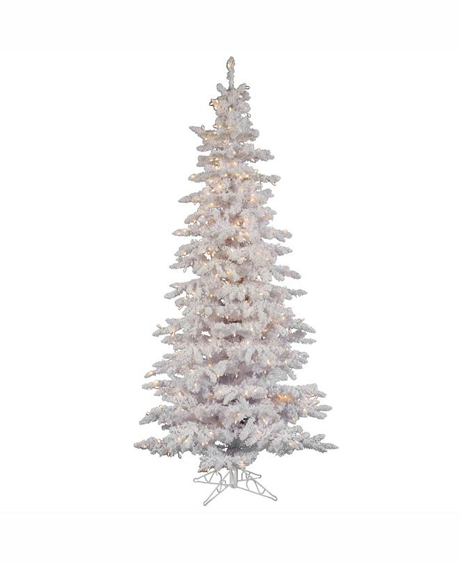 Vickerman 7.5 ft Flocked White Slim Artificial Christmas Tree With 550 Clear Lights