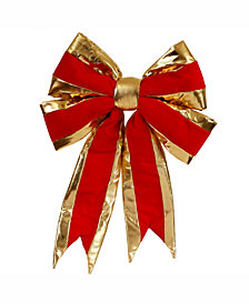 """Vickerman 16"""" Red With Gold Trim Christmas Indoor Bow"""