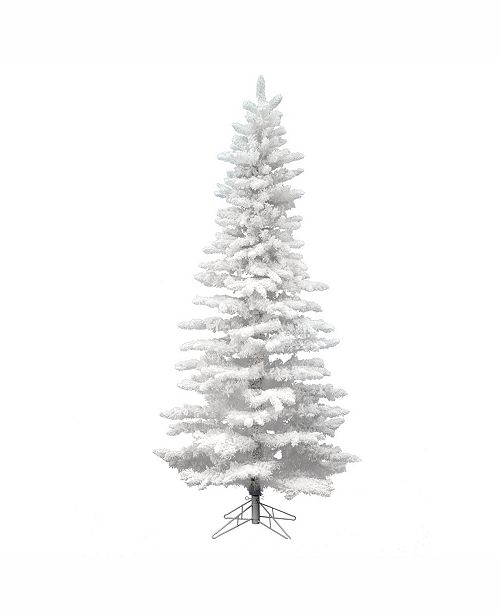 product details 9 unlit flocked white slim tree