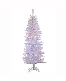 """6.5' X 30"""" White Boise Pine Tree 200 Clear Lights, Metal Stand"""