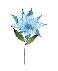 "Vickerman 26"" Sky Blue Velvet Poinsettia Artificial Christmas Pick, 3 Per Bag"
