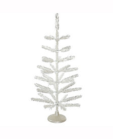 Vickerman 3' Silver Feather Artificial Christmas Tree Unlit, 36Tips