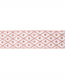 "Vickerman 2.5"" Rose Gold Diamond Jacquard Christmas Ribbon"