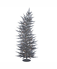 Vickerman 5 ft Silver Laser Artificial Christmas Tree With 100 Warm White Led Lights
