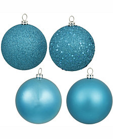 "Vickerman 8"" Turquoise 4-Finish Ball Christmas Ornament, 4 Per Bag"