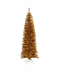 Vickerman 6.5 ft Antique Gold Pencil Artificial Christmas Tree With 300 Clear Lights