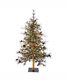 3 ft X 29 inchDakota Alpine Artificial Christmas Tree With 50 Warm White Led Lights