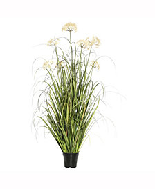 """Vickerman 36"""" Artificial Potted Green Grass X 124 Features 4 Cream Dandelions"""