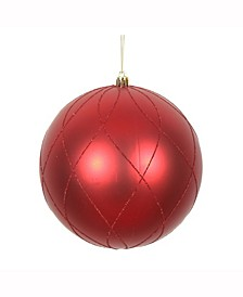 "8"" Red Matte And Glitter Swirl Ball Ornament"