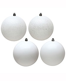 "8"" White 4-Finish Ball Christmas Ornament, 4 Per Bag"