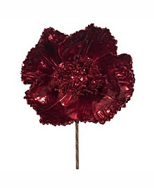 "14"" Red Faux Pearl Glitter Poppy 8"" Flower Head, Set of 3"