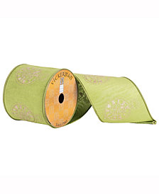 """4"""" X 10Yd Green Ribbon With Gold Embroidered Ornament"""