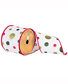 """4"""" X 10Yd White Ribbon With Red, Light And Dark Green Embroidered Dots And Red Edge"""