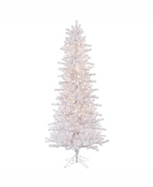 7.5 ft Crystal White Pine Slim Artificial Christmas Tree With 500 Clear Lights