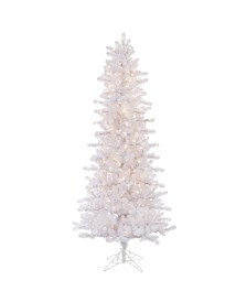 Vickerman 7.5 ft Crystal White Pine Slim Artificial Christmas Tree With 500 Clear Lights