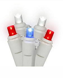 Vickerman 50 Red-White-Blue Wide Angle Led Light On White Wire, 25' Christmas Light Strand