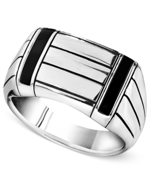 Men's Sterling Silver Ring, Onyx Accent Ring