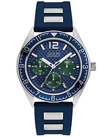 GUESS Men's Blue Silicone Strap Watch 46mm