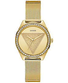 GUESS Women's Gold-Tone Stainless Steel Mesh Bracelet Watch 36.5mm