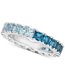 London Blue Topaz  (2-1/5 ct. t.w.) & Sky Blue Topaz (1-1/2 ct. t.w.) Band in Sterling Silver (Also Available in Multi-Stone)