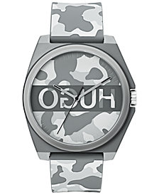 HUGO Unisex #Play Gray Camo Rubber Strap Watch 40mm