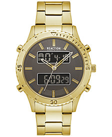 Kenneth Cole Reaction Men's Analog-Digital Gold-Tone Bracelet 44mm