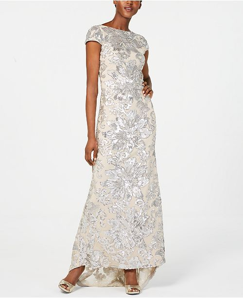 dcb1e25530 Calvin Klein Embellished Cowl-Back Gown   Reviews - Dresses - Women ...