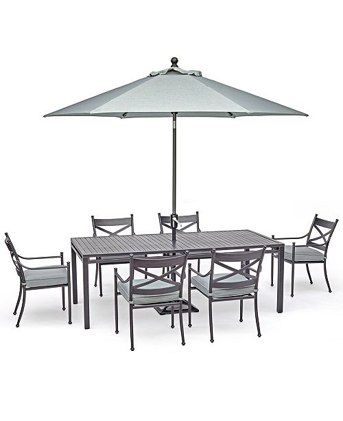 """Furniture Montclaire Outdoor Aluminum 7-Pc. Dining Set (84"""" X 42"""" Table & 6 Dining Chairs) With Sunbrella® Cushions, Created For Macy's"""