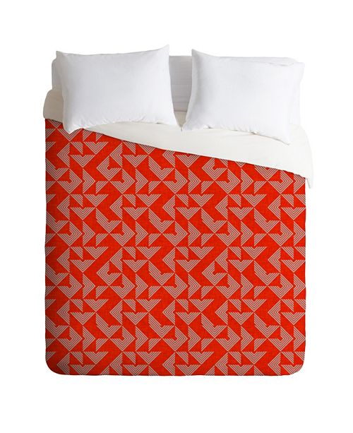 Deny Designs Holli Zollinger Mod Circuit Red King Duvet Set