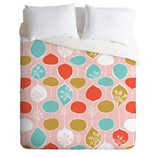 Deny Designs Heather Dutton Snowflake Holiday Bobble Chill Pink Queen Duvet Set