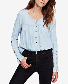 Free People Sand Dune Cotton Textured Raw-Seam Blouse