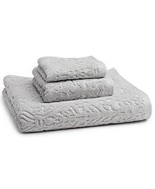 "Kassatex Firenze 100% Cotton Floral Jacquard 30"" x 54"" Bath Towel"